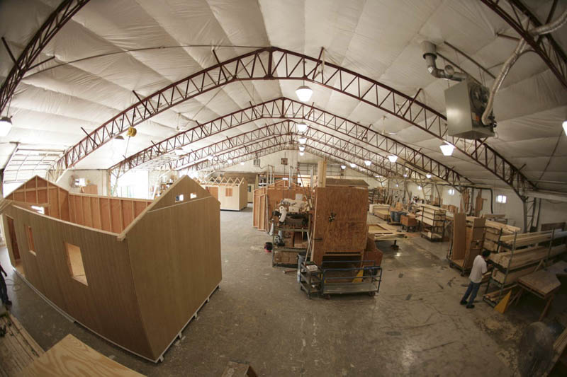 Two plants allow multiple sheds or other portable buildings being built simultaneously.