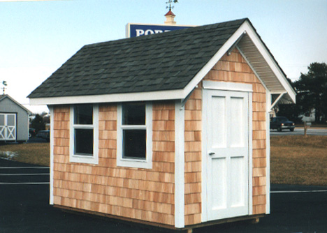 Custom built 6 39 x 8 39 cedar cu 2 portable buildings for Cedar shingle shed