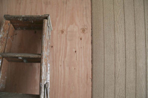 Knot Free Fir Wood Siding is stained