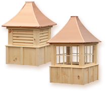 Keystone Series: Board and batten constructed roof cupolas made of eastern white pine for a natural appearance.