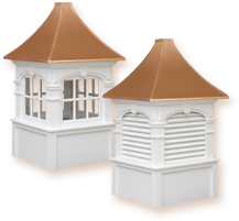 Elegantly designed vinyl or cedar roof cupolas with copper capped roofs that enhance any home, garage, barn, or gazebo.