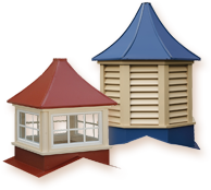 Sundance Series: Maintenance-free vinyl roof cupolas with pre-painted steel materials in wide array of colors to match your roof. Square or Octagonal configurations available; windowed or louvered in all sizes.