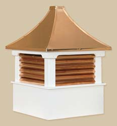 Morton with Copper Louvers - cellular pvc-vinyl or a premium grade of (primed) white pine and capped with a copper roof