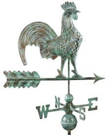 "25"" Blue Verde Copper Rooster Weather Vane (#501V1)"