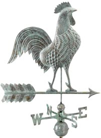 "27"" Blue Verde Copper Rooster Weather Vane (#515V1)"