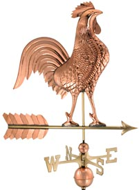 "27"" Polished Copper Rooster Weather Vane (#515P)"