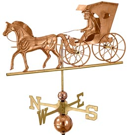 Country Doctor in Horse and Carraige Weathervane - Polished Copper