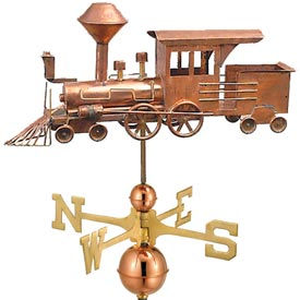Locomotive Train Weathervane in Polished Copper