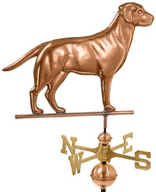 Labrador Retriever Weathervane in Polished Copper
