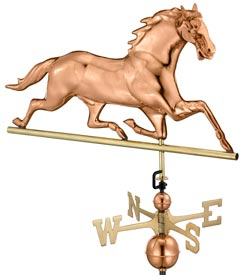 Polished Copper Horse Weather Vane (#580P)
