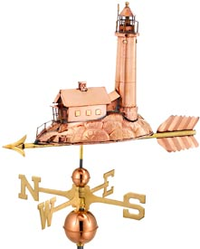 Polished Copper Lighthouse Weather Vane (#624P)