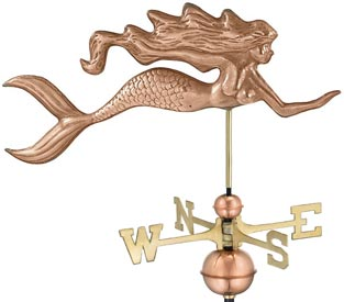 Mermaid Weather Vane, Polished Copper (#649P)