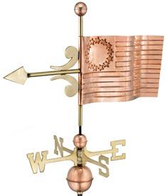 U.S. Flag Polished Copper Weather Vane (#910P)