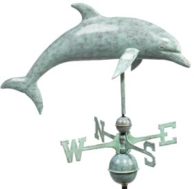 Dolphin Blue Verde Copper Weather Vane (#9507V1)