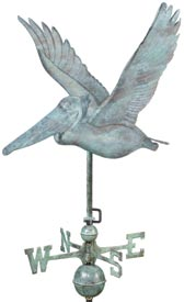 Pelican Weather Vane, Blue Verde Copper (#9509V1)