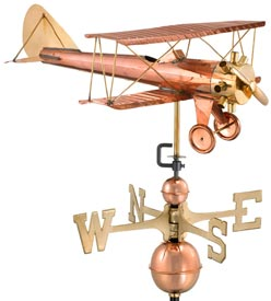 Biplane Polished Copper Weather Vane (#9521P)