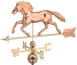 Smithsonian Running Horse Polished Copper Weather Vane (#952P)
