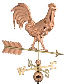 Smithsonian Rooster Polished Copper Weathervane
