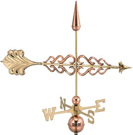Smithsonian Decorative Arrow Polished Copper Weathervane