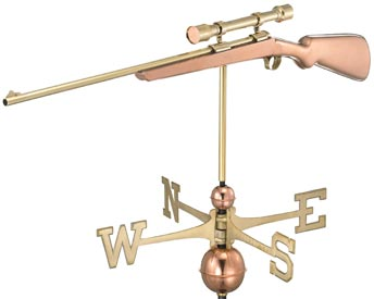 Rifle with Scope Polished Copper Weathervane
