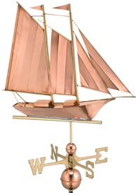 Sailboat (Schooner) Polished Copper Weathervane