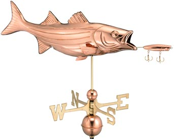 Striped Bass Fish with Lure Weathervane in Polished Copper