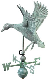 Landing Duck Weathervane in Blue Verde Copper