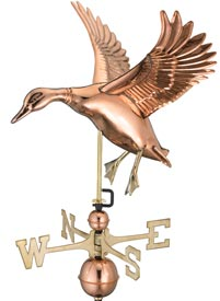 Landing Duck Weathervane in Polished Copper
