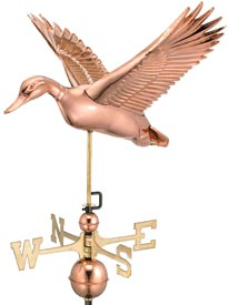 Flying Duck Weathervane in Polished Copper