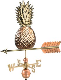 Decorative Gold Pineapple Weathervane in Polished Copper
