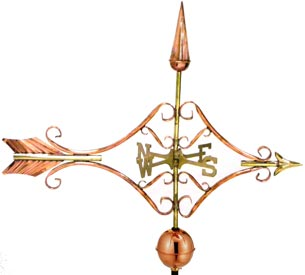 Beautiful Victorian Arrow Weathervane in Polished Copper