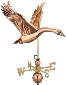 Elegant Flying Goose Weathervane in Polished Copper