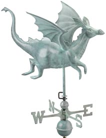 Whimsical Dragon Weathervane in Blue Verde Copper Metal