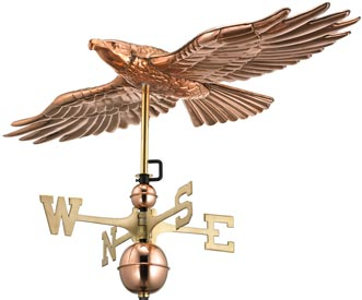 Flying Hawk Weathervane in Polished Copper