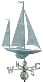 Yawl Sailboat Weathervane in Blue Verde Copper
