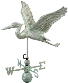 Blue Heron Blue Verde Copper Weathervane