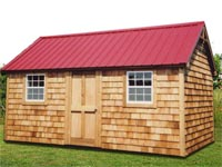 10′ x 16′ Cape Cod with Red Steel Roof (CU-19)
