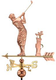Golfer Weathervane in Polished Copper