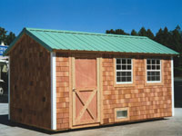 8' x 16' Ranch with Cedar Siding and Metal Roof (R-16)
