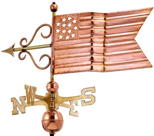 American Flag Weathervane in Polished Copper