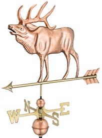 Stunning Elk Weathervane in Polished Copper