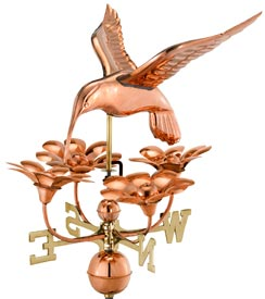 Beautiful Hummingbird with Flowers Weathervane in Polished Copper