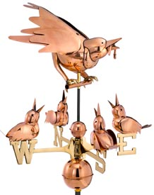 Mother Bird Feeding Baby Chicks Weathervane in Polished Copper
