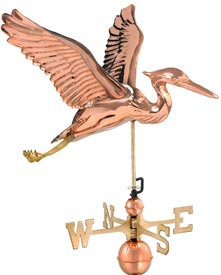 Blue Heron Polished Copper Weathervane