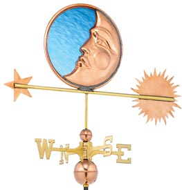 Celestial Sun, Moon and Stars Weathervane with Blue Stained Glass, Polished Copper