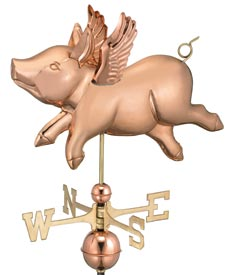 Charming Flying Pig Weathervane in Polished Copper