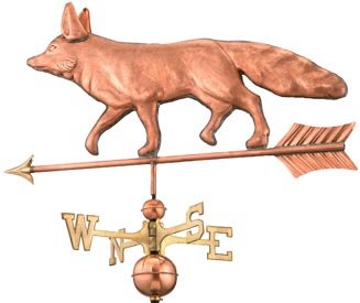 Charming Fox Weathervane in Polished Copper
