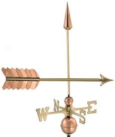 Classic Arrow Weathervane in Polished Copper