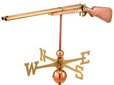 Vintage Shotgun Weathervane in Polished Copper