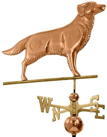 Golden Retriever Weathervane in Polished Copper